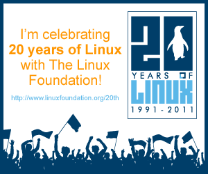 I'll be celebrating 20 years of Linux with The Linux Foundation!